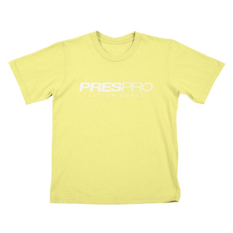 BRAND-WHITE INK Kids T-shirt by PRESPRO CUSTOM HOMES