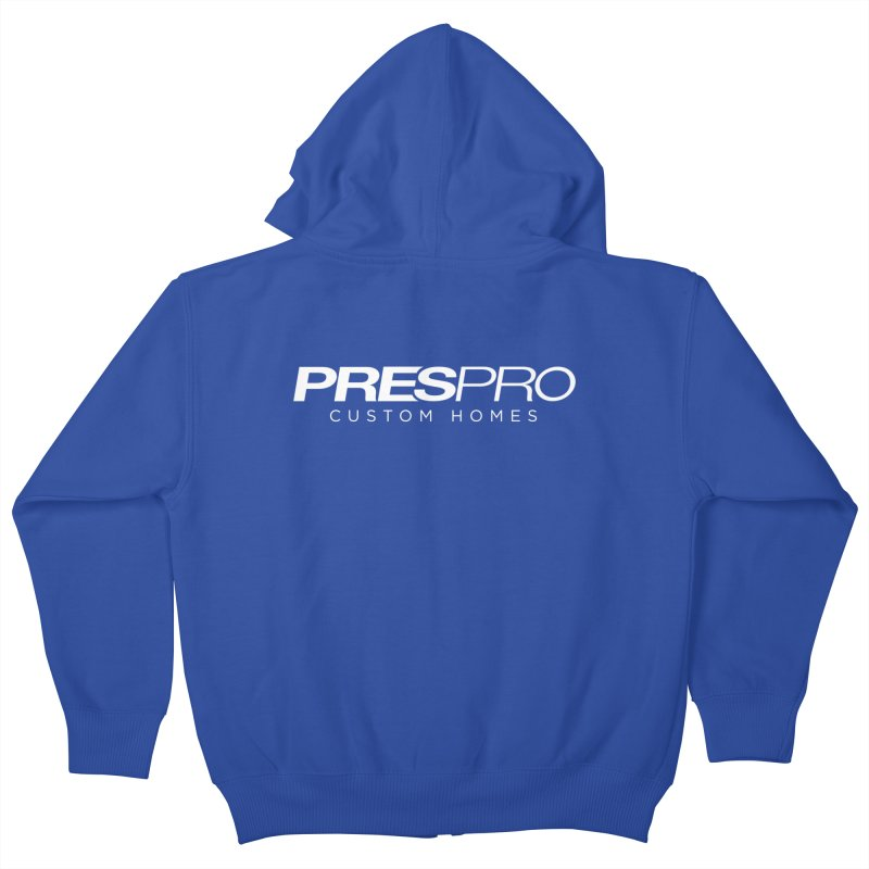 BRAND-WHITE INK Kids Zip-Up Hoody by PRESPRO CUSTOM HOMES