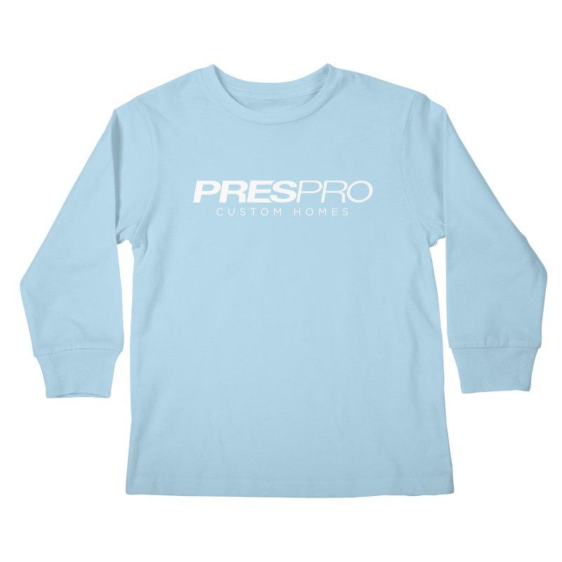BRAND-WHITE INK Kids Longsleeve T-Shirt by PRESPRO CUSTOM HOMES