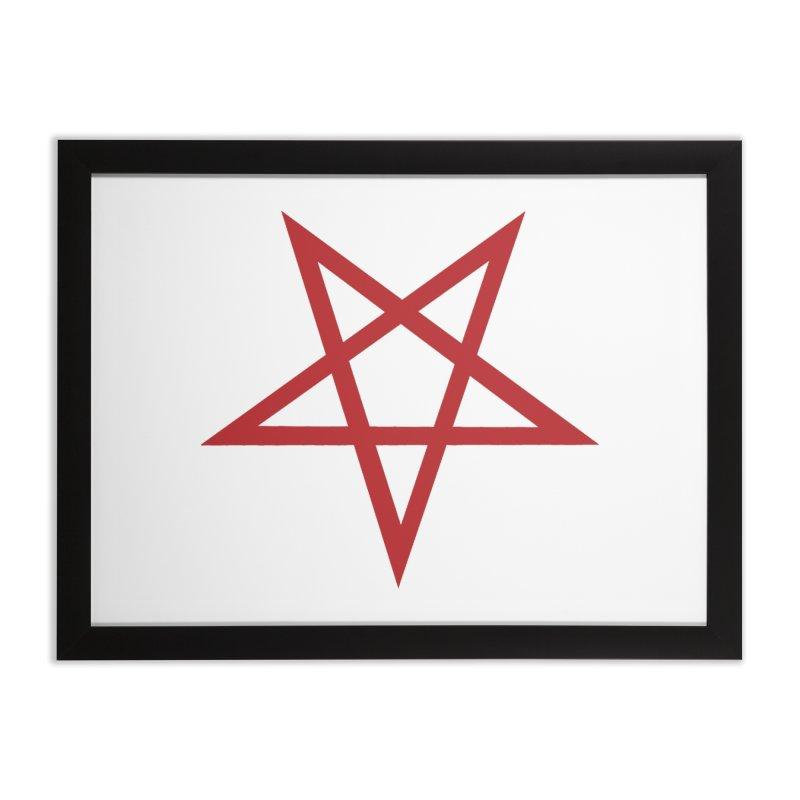 Pentagram (blood red) Home Framed Fine Art Print by Pretty Hate Machining's Artist Shop