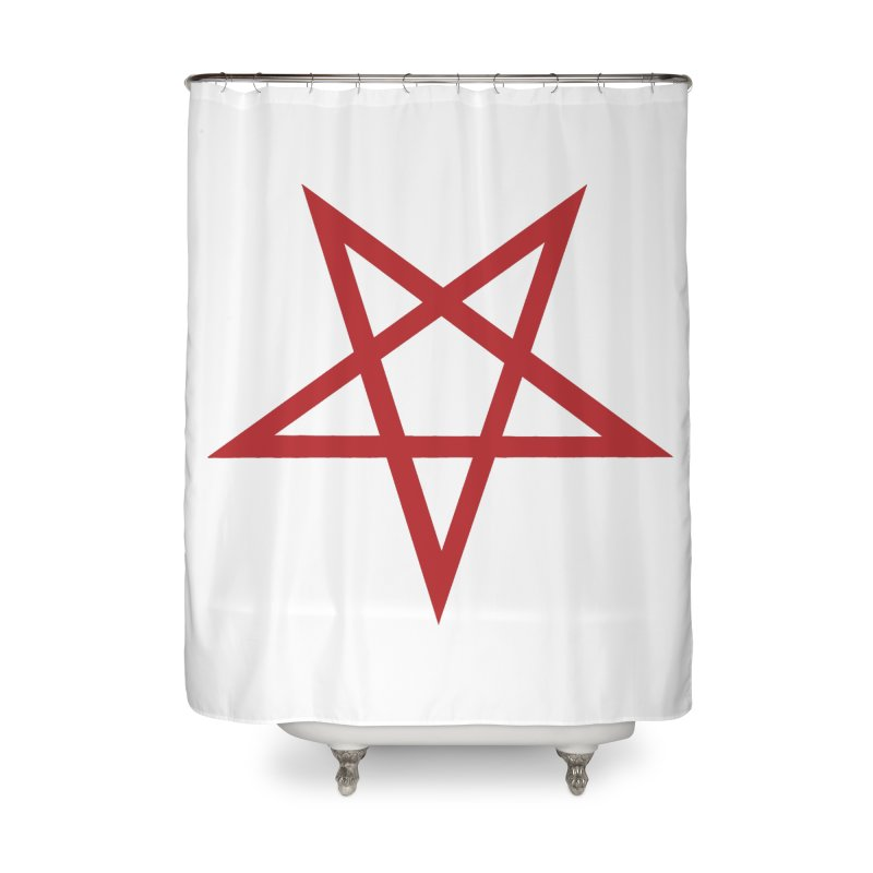 Pentagram (blood red) Home Shower Curtain by Pretty Hate Machining's Artist Shop