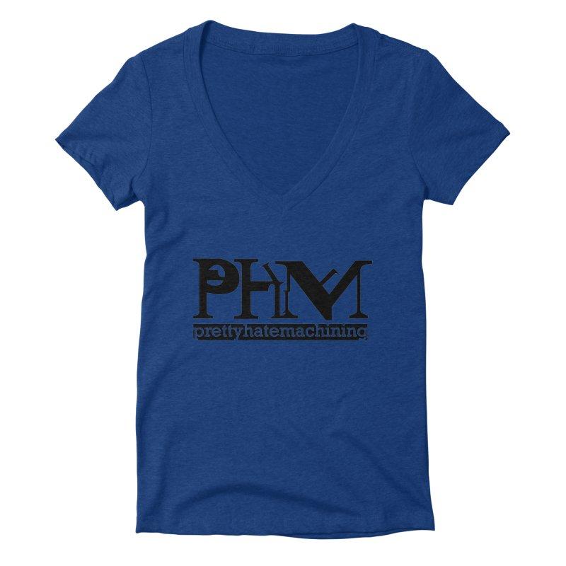 Black PHM logo Women's Deep V-Neck V-Neck by Pretty Hate Machining's Artist Shop