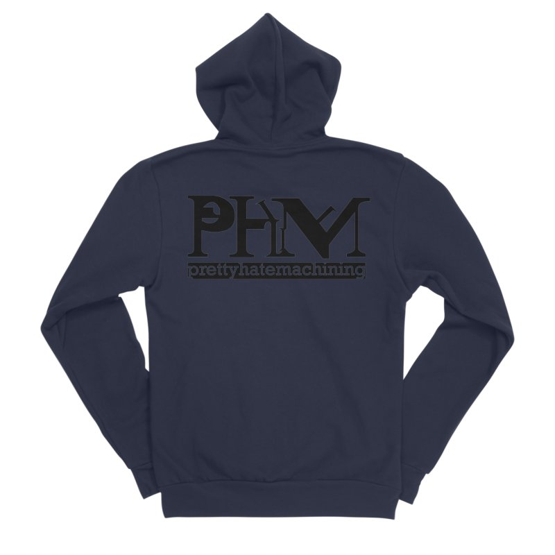 Black PHM logo Men's Sponge Fleece Zip-Up Hoody by Pretty Hate Machining's Artist Shop