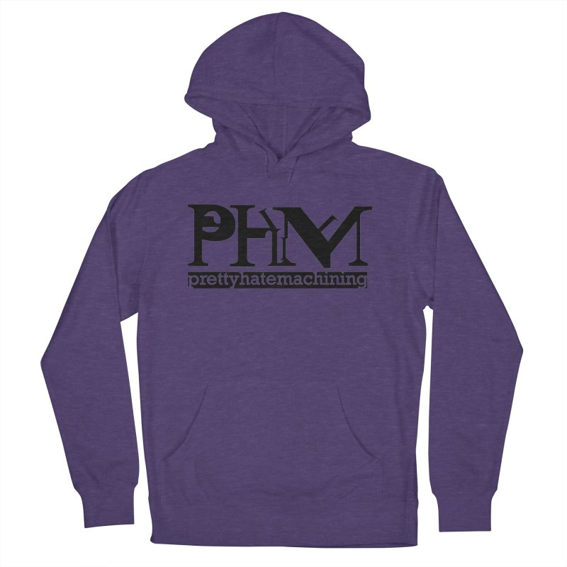 Black PHM logo Women's French Terry Pullover Hoody by prettyhatemachining's Artist Shop