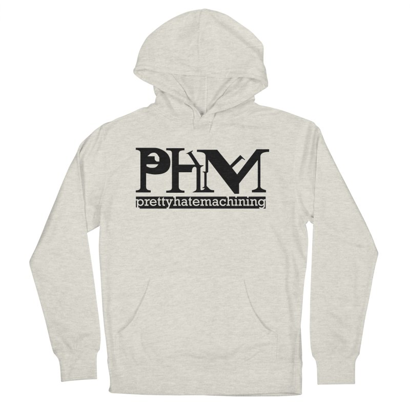 Black PHM logo Men's French Terry Pullover Hoody by prettyhatemachining's Artist Shop