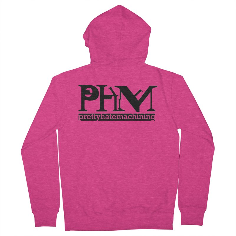 Black PHM logo Women's French Terry Zip-Up Hoody by Pretty Hate Machining's Artist Shop