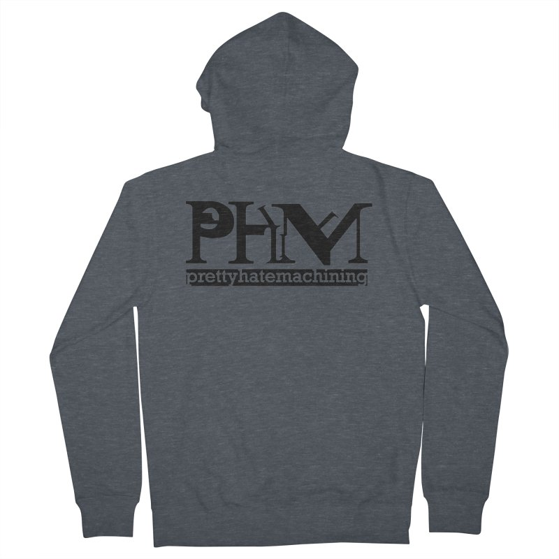 Black PHM logo Men's French Terry Zip-Up Hoody by Pretty Hate Machining's Artist Shop