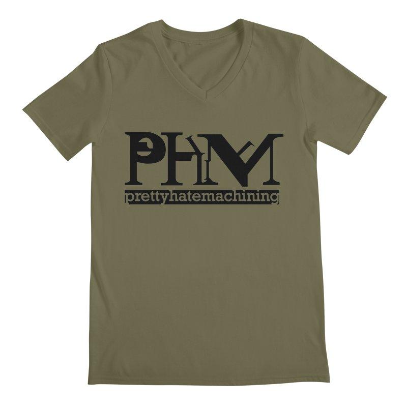 Black PHM logo Men's Regular V-Neck by prettyhatemachining's Artist Shop