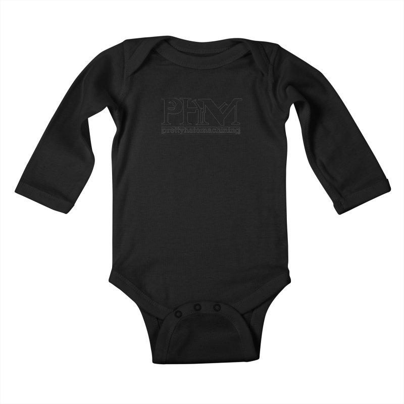 Black PHM logo Kids Baby Longsleeve Bodysuit by prettyhatemachining's Artist Shop