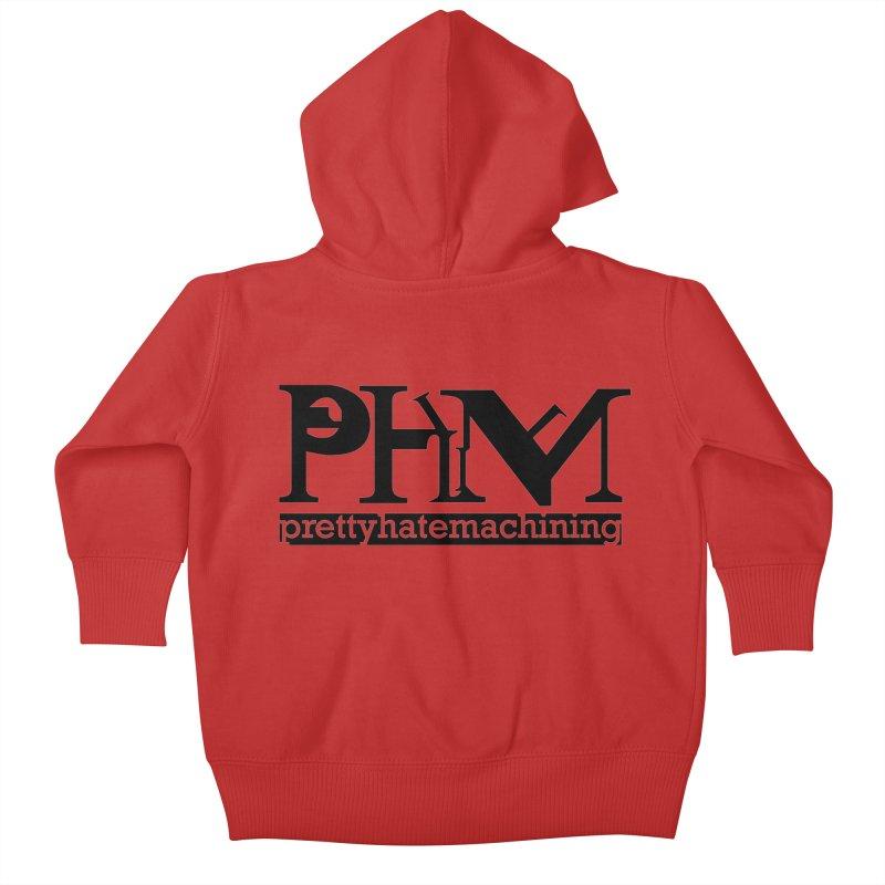 Black PHM logo Kids Baby Zip-Up Hoody by Pretty Hate Machining's Artist Shop