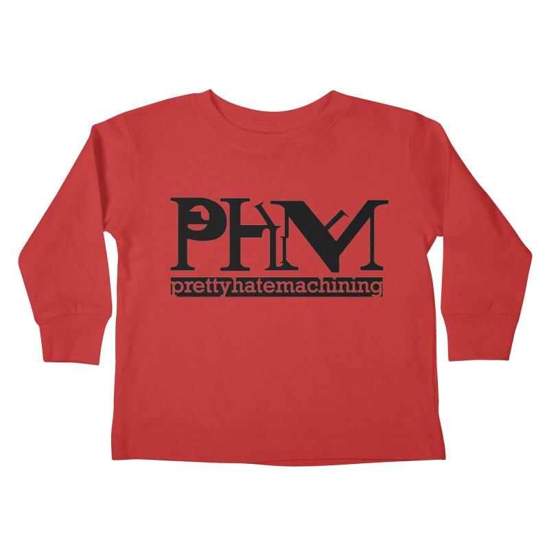 Black PHM logo Kids Toddler Longsleeve T-Shirt by Pretty Hate Machining's Artist Shop