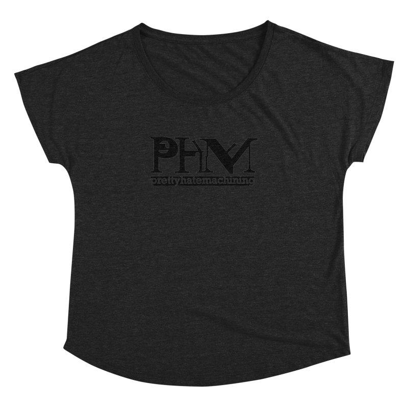 Black PHM logo Women's Dolman Scoop Neck by prettyhatemachining's Artist Shop