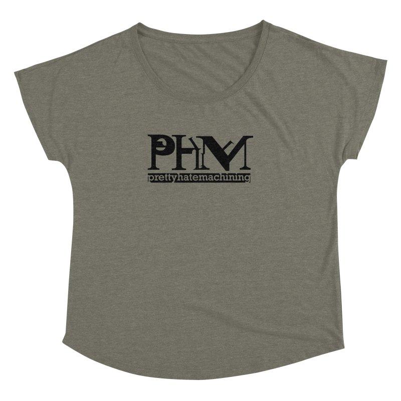 Black PHM logo Women's Dolman Scoop Neck by Pretty Hate Machining's Artist Shop