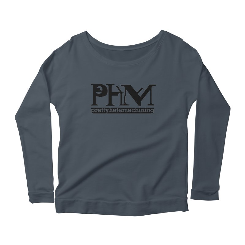 Black PHM logo Women's Scoop Neck Longsleeve T-Shirt by Pretty Hate Machining's Artist Shop