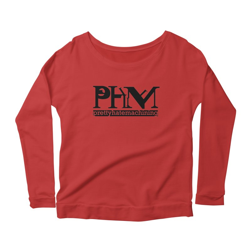 Black PHM logo Women's Scoop Neck Longsleeve T-Shirt by prettyhatemachining's Artist Shop