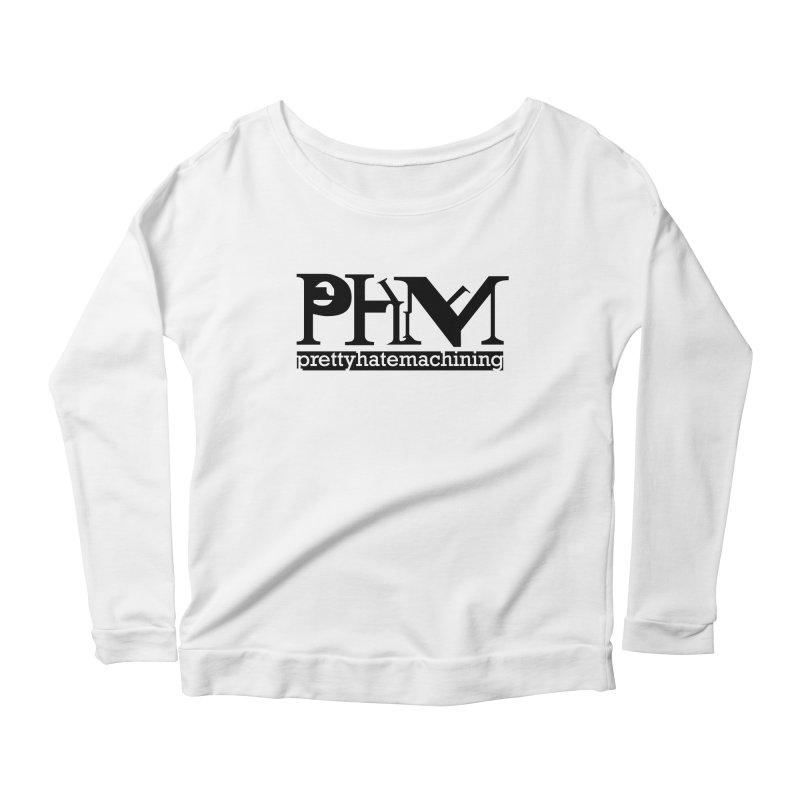 Black PHM logo Women's Scoop Neck Longsleeve T-Shirt by Pretty Hate Machining's Artist Shop