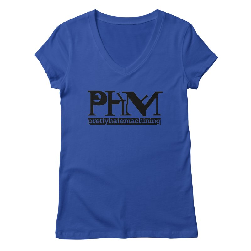 Black PHM logo Women's Regular V-Neck by prettyhatemachining's Artist Shop