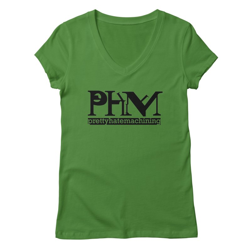 Black PHM logo Women's Regular V-Neck by prettyhatemachining's Artist Shop