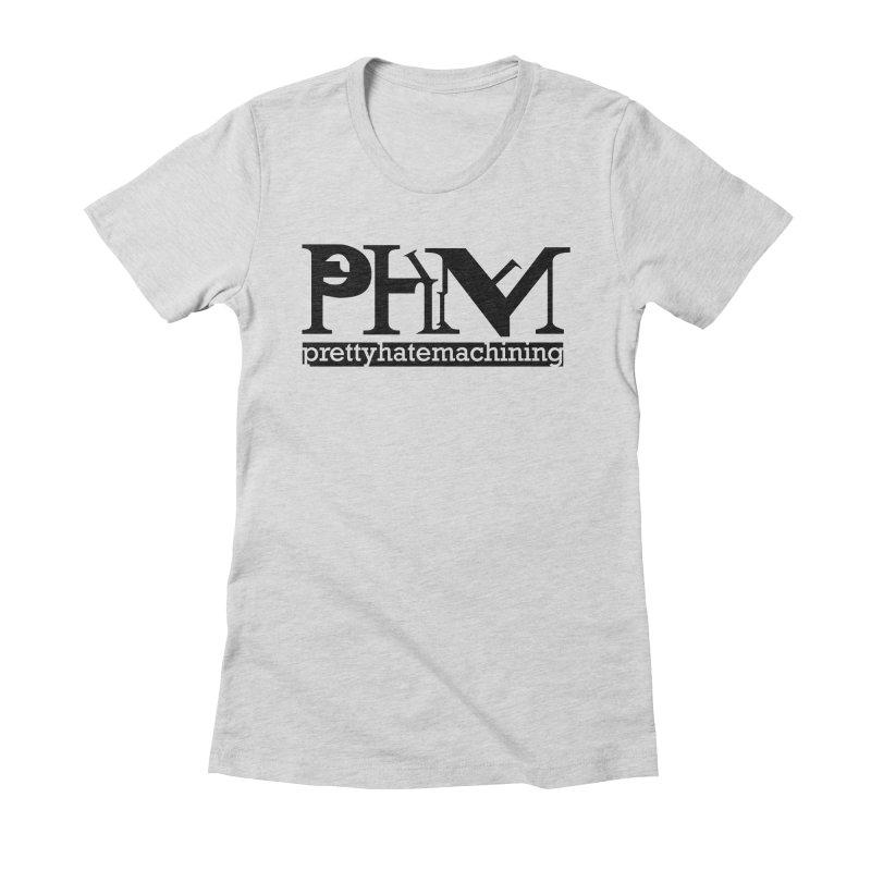 Black PHM logo Women's Fitted T-Shirt by prettyhatemachining's Artist Shop