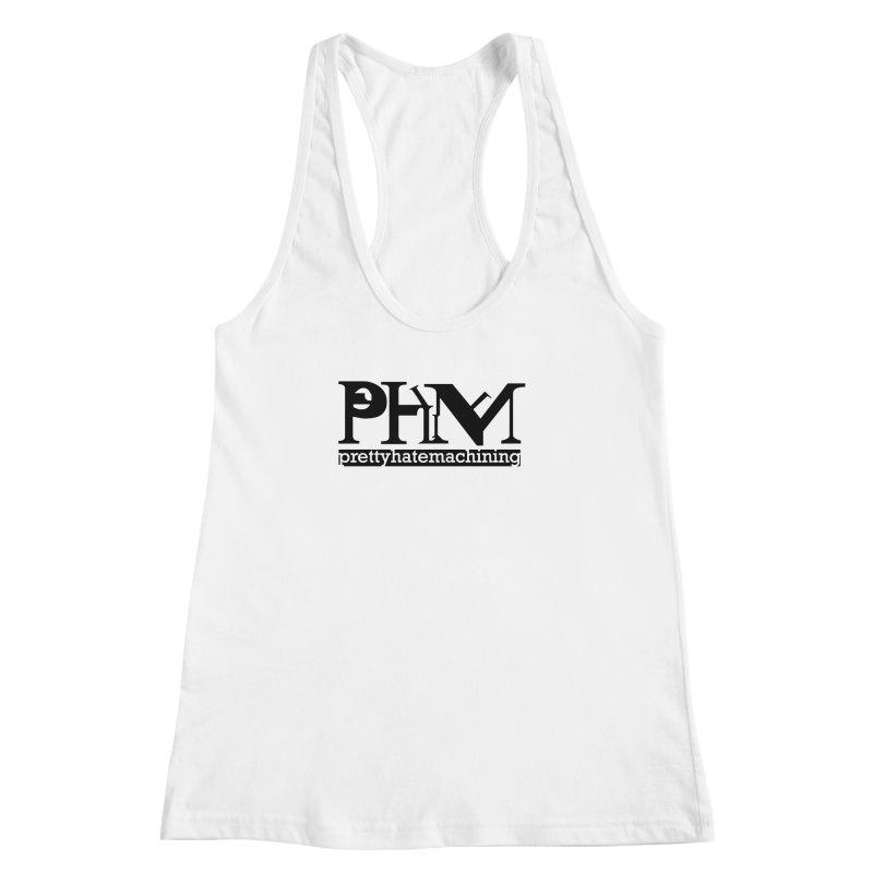 Black PHM logo Women's Racerback Tank by prettyhatemachining's Artist Shop