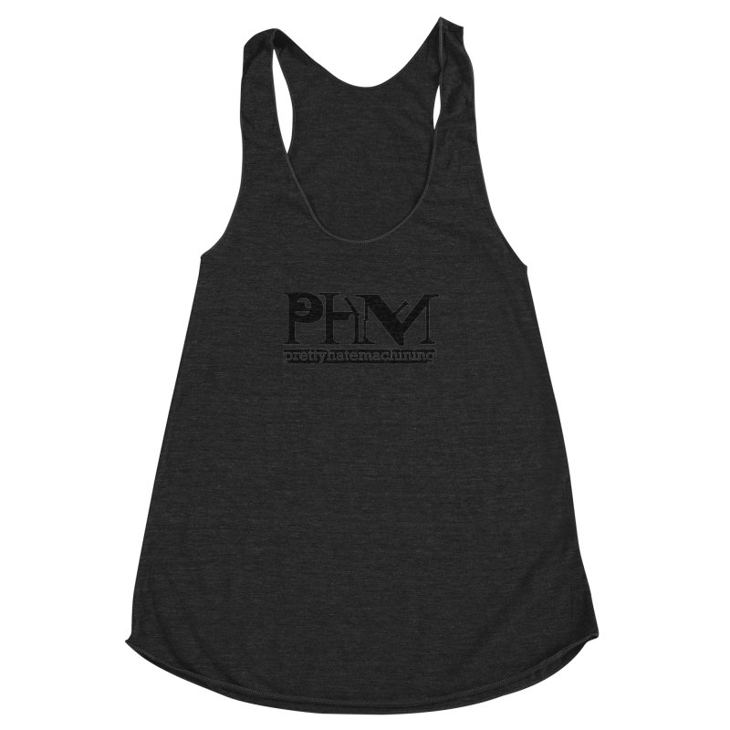 Black PHM logo Women's Racerback Triblend Tank by Pretty Hate Machining's Artist Shop
