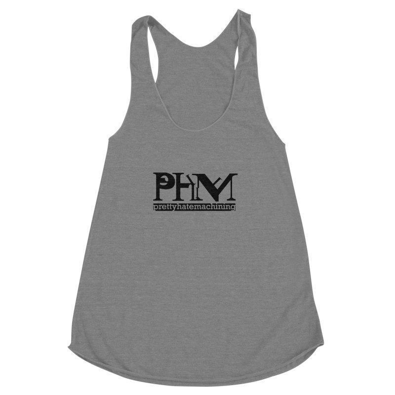 Black PHM logo Women's Racerback Triblend Tank by Pretty Hate Machining's Artist Shop