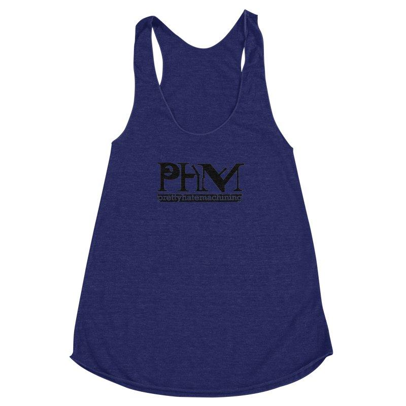 Black PHM logo Women's Racerback Triblend Tank by prettyhatemachining's Artist Shop