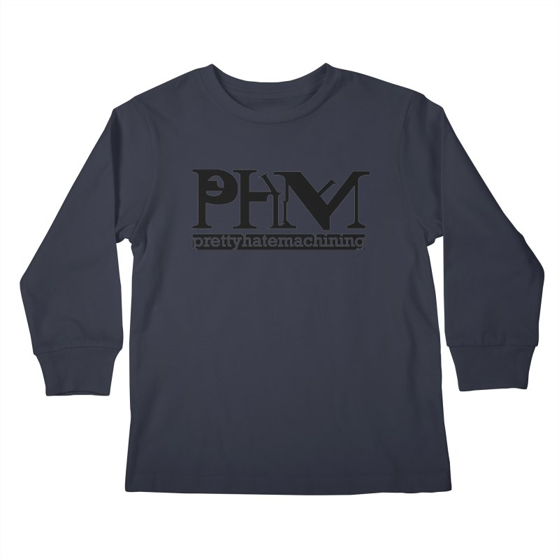 Black PHM logo Kids Longsleeve T-Shirt by Pretty Hate Machining's Artist Shop