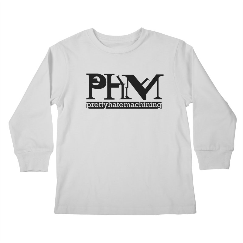 Black PHM logo Kids Longsleeve T-Shirt by Pretty Hate Machining's Artist Shop