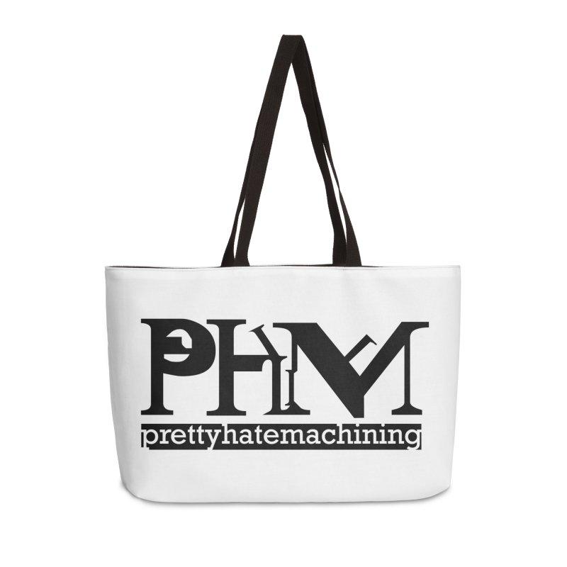 Black PHM logo Accessories Weekender Bag Bag by Pretty Hate Machining's Artist Shop