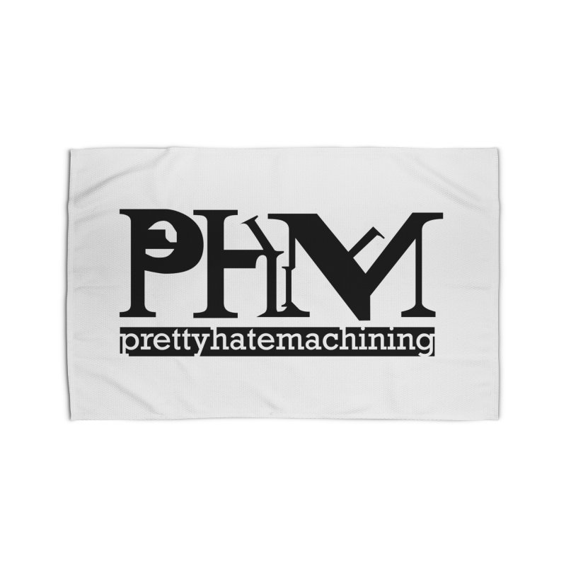 Black PHM logo Home Rug by prettyhatemachining's Artist Shop