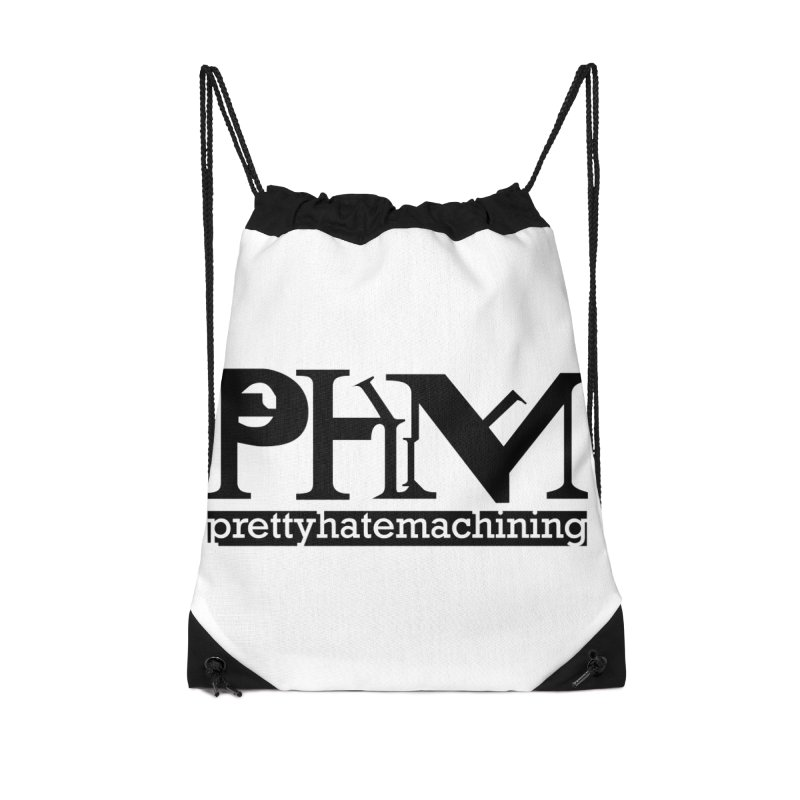 Black PHM logo Accessories Drawstring Bag Bag by Pretty Hate Machining's Artist Shop