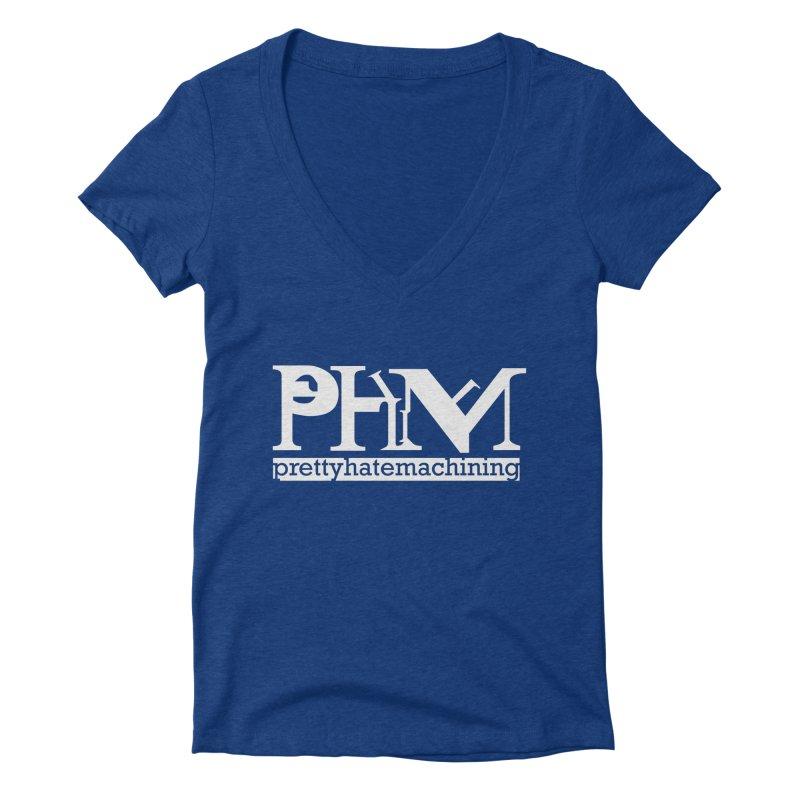 White PHM logo Women's Deep V-Neck V-Neck by Pretty Hate Machining's Artist Shop