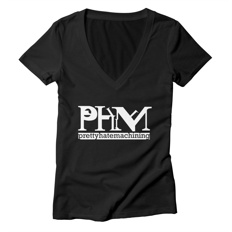 White PHM logo Women's V-Neck by Pretty Hate Machining's Artist Shop