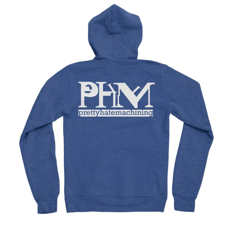 White PHM logo Men's Sponge Fleece Zip-Up Hoody by Pretty Hate Machining's Artist Shop