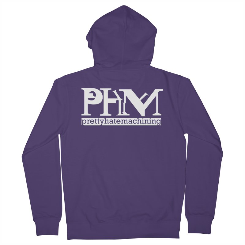 White PHM logo Women's French Terry Zip-Up Hoody by Pretty Hate Machining's Artist Shop