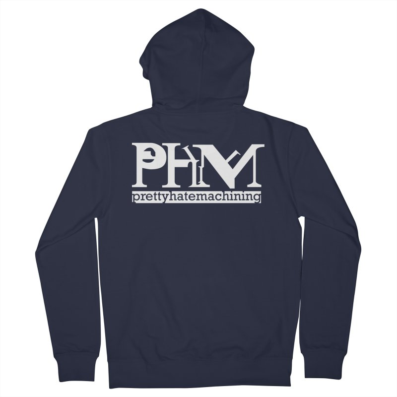 White PHM logo Women's French Terry Zip-Up Hoody by prettyhatemachining's Artist Shop