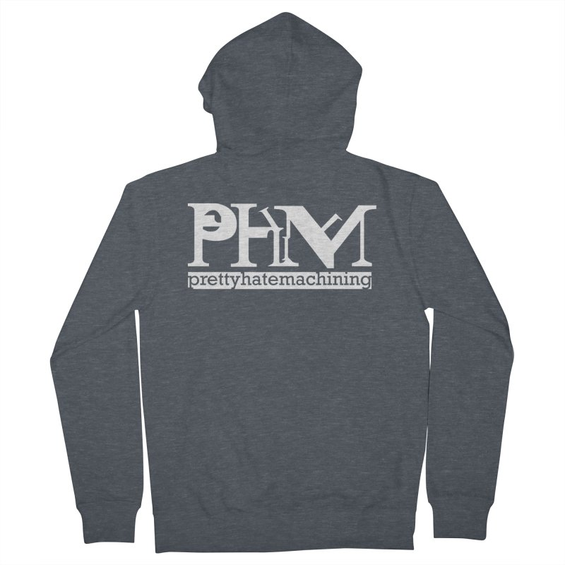 White PHM logo Men's French Terry Zip-Up Hoody by Pretty Hate Machining's Artist Shop