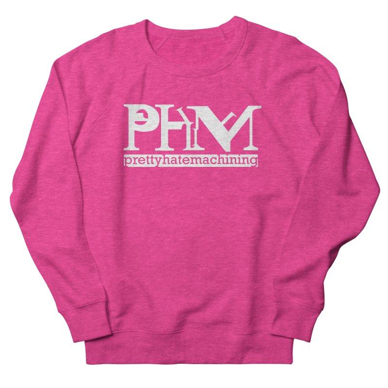 White PHM logo Women's French Terry Sweatshirt by prettyhatemachining's Artist Shop