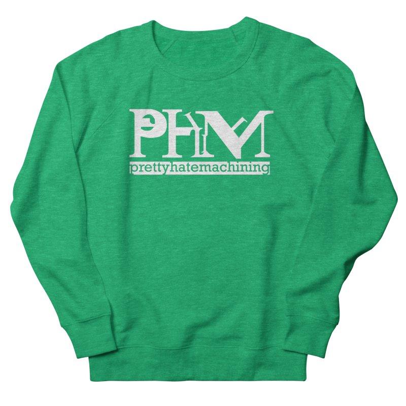 White PHM logo Men's French Terry Sweatshirt by prettyhatemachining's Artist Shop