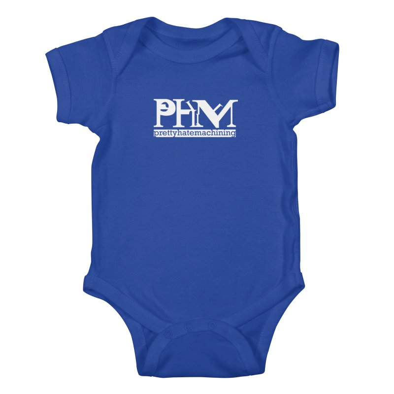 White PHM logo Kids Baby Bodysuit by prettyhatemachining's Artist Shop