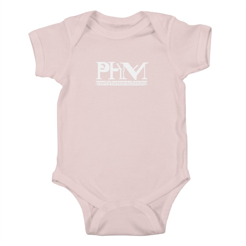 White PHM logo Kids Baby Bodysuit by Pretty Hate Machining's Artist Shop