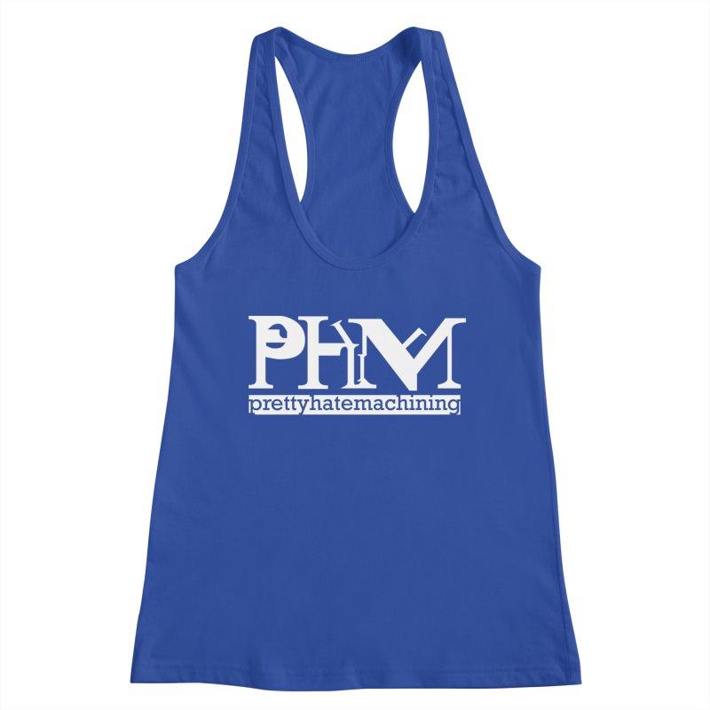 White PHM logo Women's Racerback Tank by Pretty Hate Machining's Artist Shop
