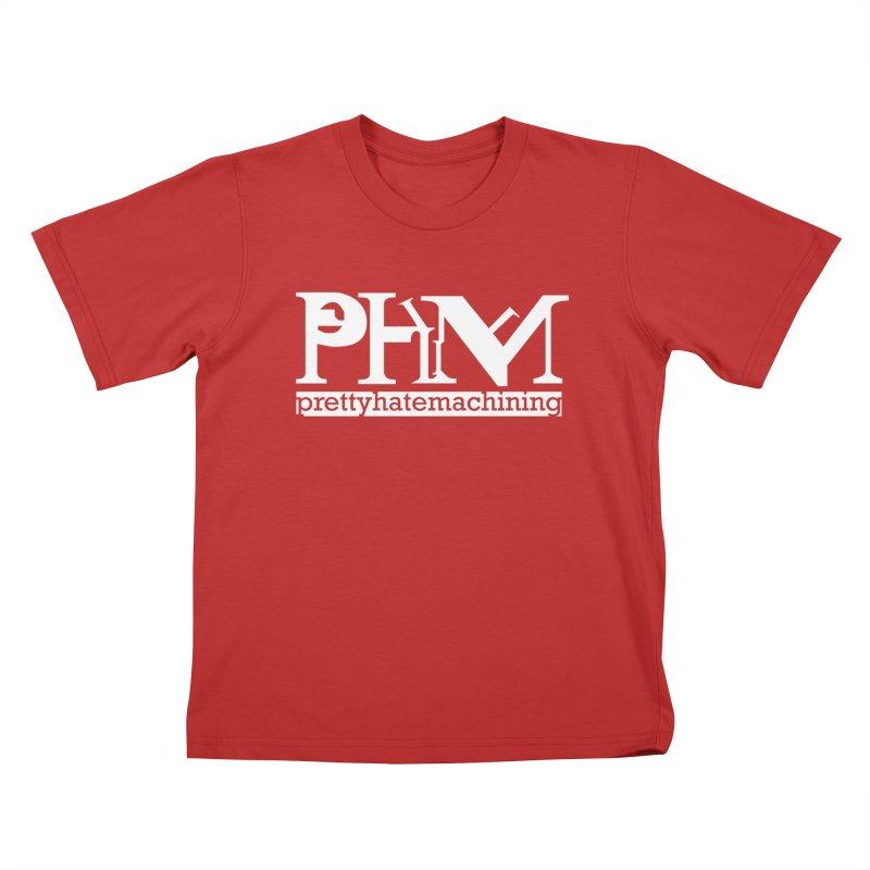 White PHM logo Kids T-Shirt by prettyhatemachining's Artist Shop