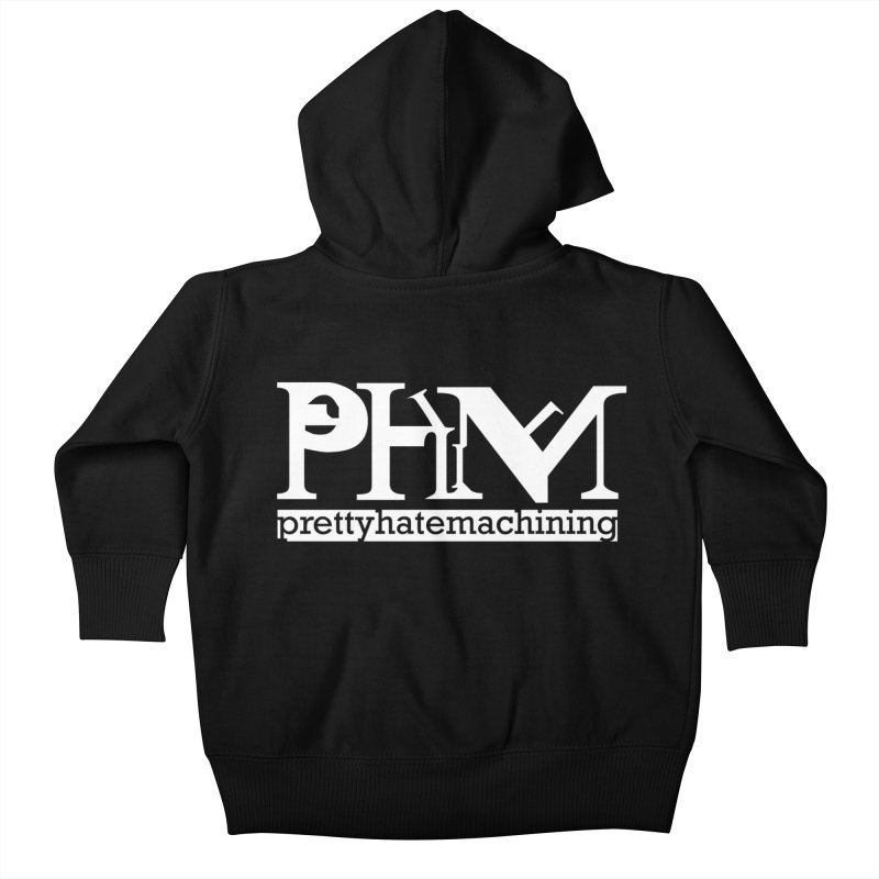 White PHM logo Kids Baby Zip-Up Hoody by Pretty Hate Machining's Artist Shop