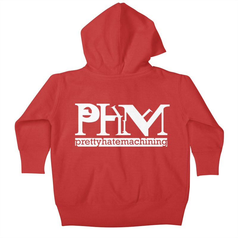 White PHM logo Kids Baby Zip-Up Hoody by prettyhatemachining's Artist Shop