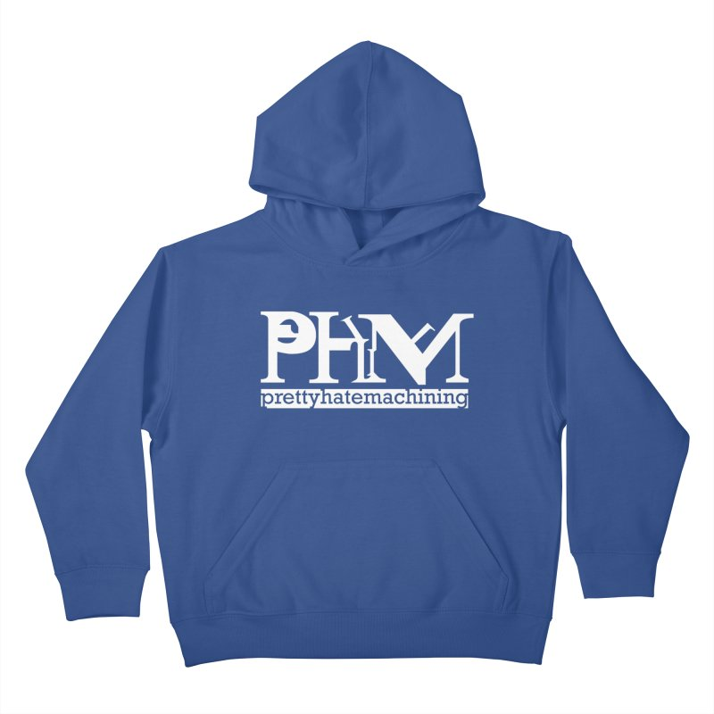 White PHM logo Kids Pullover Hoody by Pretty Hate Machining's Artist Shop