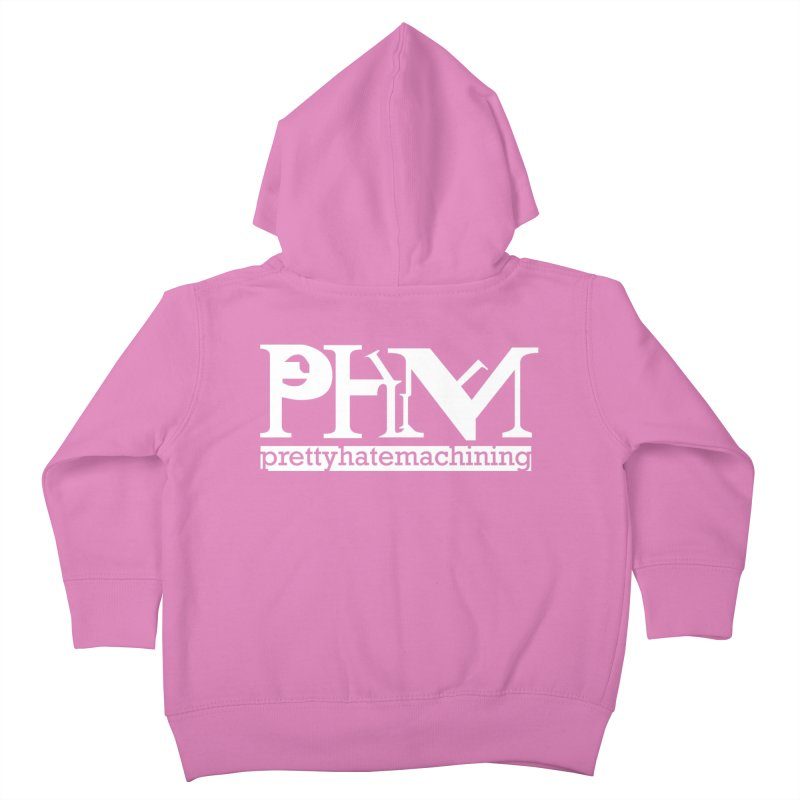 White PHM logo Kids Toddler Zip-Up Hoody by prettyhatemachining's Artist Shop