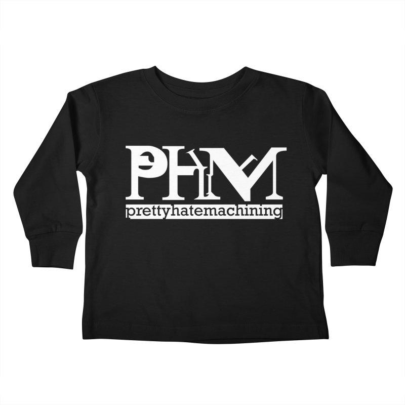 White PHM logo Kids Toddler Longsleeve T-Shirt by Pretty Hate Machining's Artist Shop