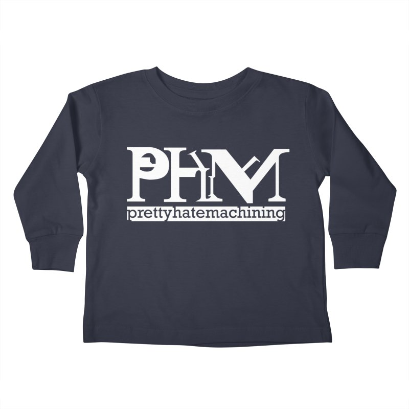 White PHM logo Kids Toddler Longsleeve T-Shirt by Pretty Hate Machining's Artist Shop